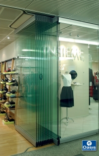 Folding glass Interior store front