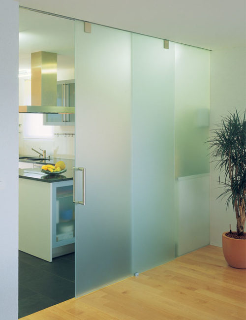 Sliding glass panels for office