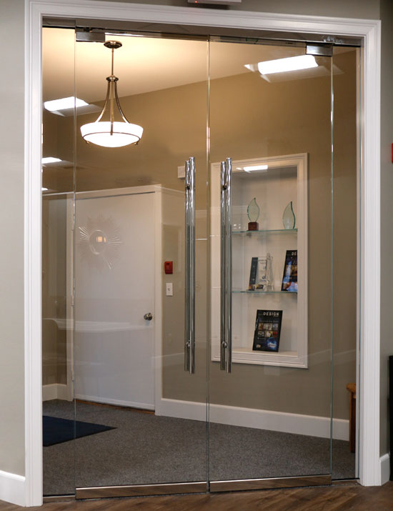 Double glass door in an office building